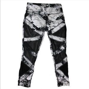Black and White Tie Dye Mesh Athletic Leggings